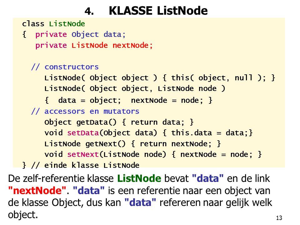 4. KLASSE ListNode class ListNode. { private Object data; private ListNode nextNode; // constructors.