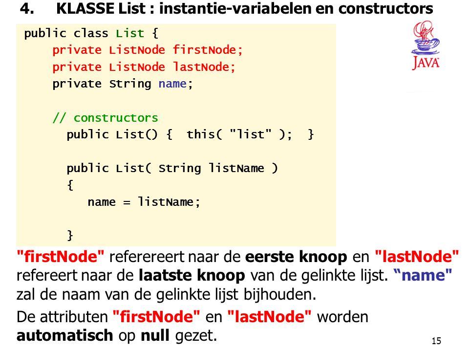 4. KLASSE List : instantie-variabelen en constructors