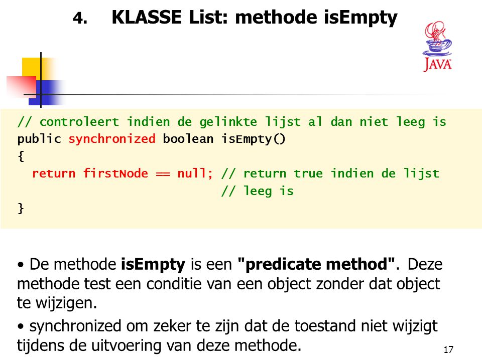 4. KLASSE List: methode isEmpty