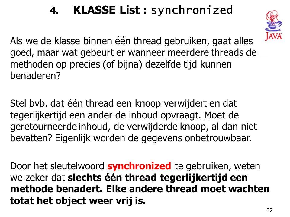 4. KLASSE List : synchronized