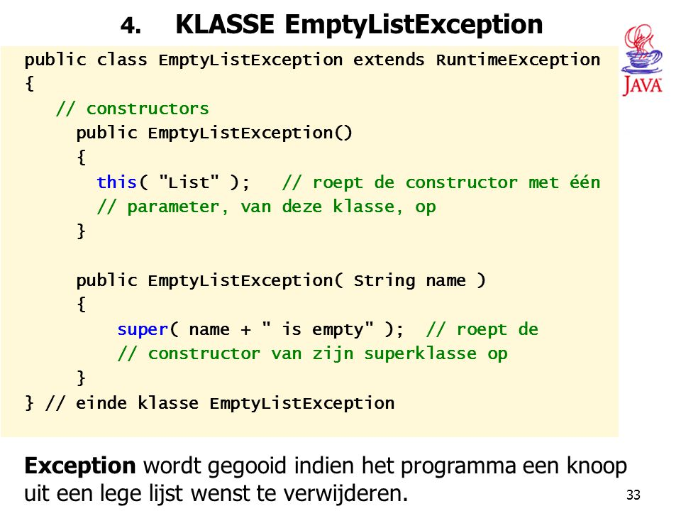 4. KLASSE EmptyListException