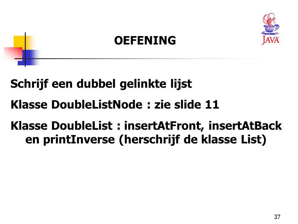 OEFENING Schrijf een dubbel gelinkte lijst. Klasse DoubleListNode : zie slide 11.