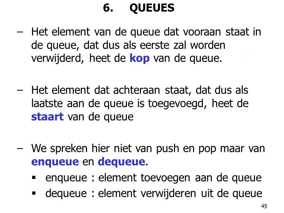 6. QUEUES Het element van de queue dat vooraan staat in de queue, dat dus als eerste zal worden verwijderd, heet de kop van de queue.