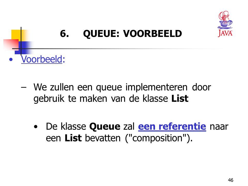 6. QUEUE: VOORBEELD Voorbeeld: We zullen een queue implementeren door gebruik te maken van de klasse List.