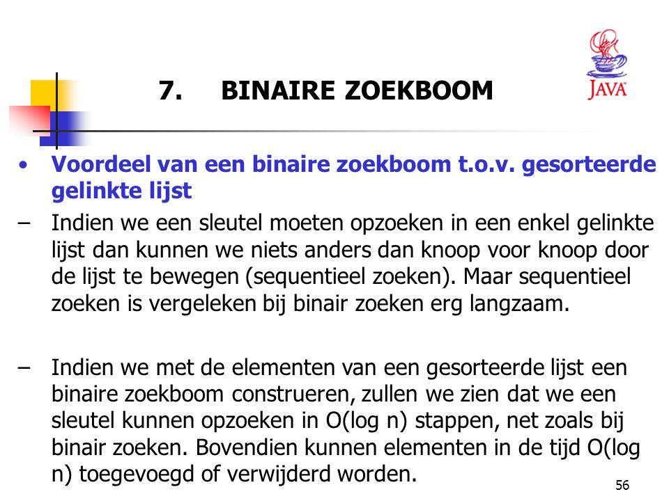 7. BINAIRE ZOEKBOOM Voordeel van een binaire zoekboom t.o.v. gesorteerde gelinkte lijst.