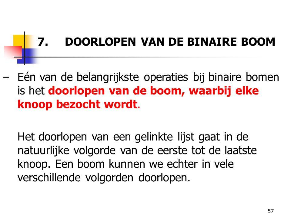 7. DOORLOPEN VAN DE BINAIRE BOOM
