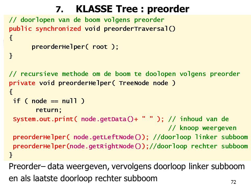 Preorder– data weergeven, vervolgens doorloop linker subboom