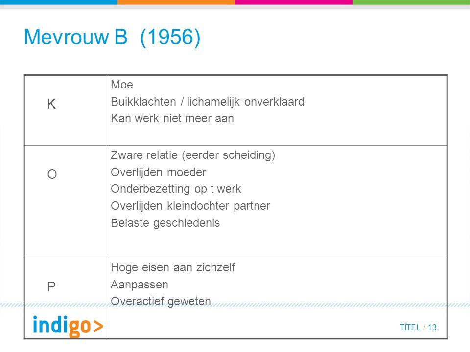 Mevrouw B (1956) K O P Moe Buikklachten / lichamelijk onverklaard