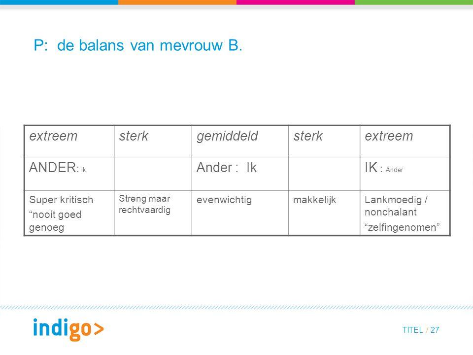 P: de balans van mevrouw B.