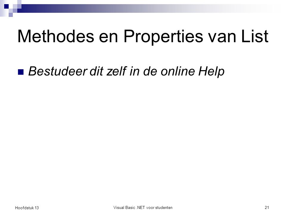 Methodes en Properties van List