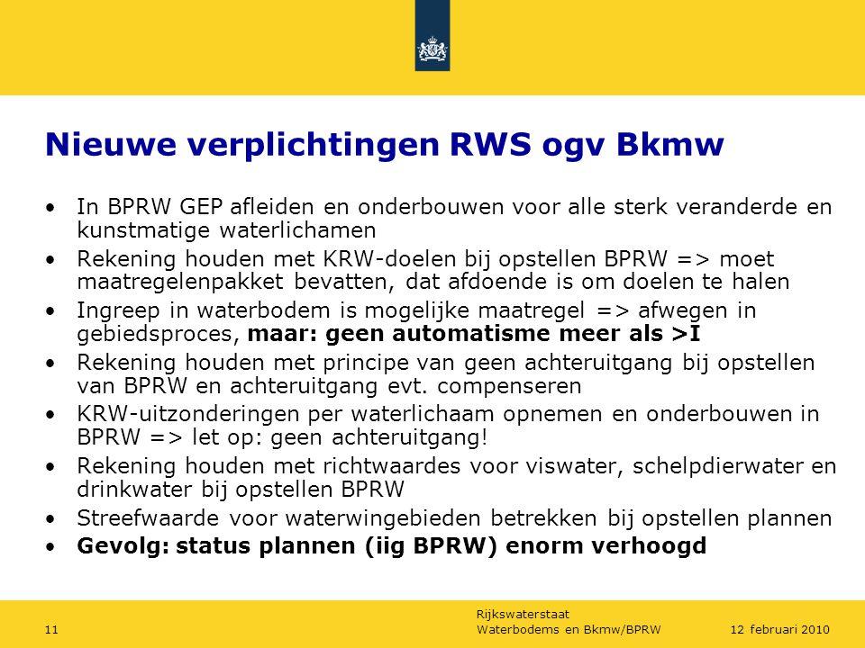 Nieuwe verplichtingen RWS ogv Bkmw