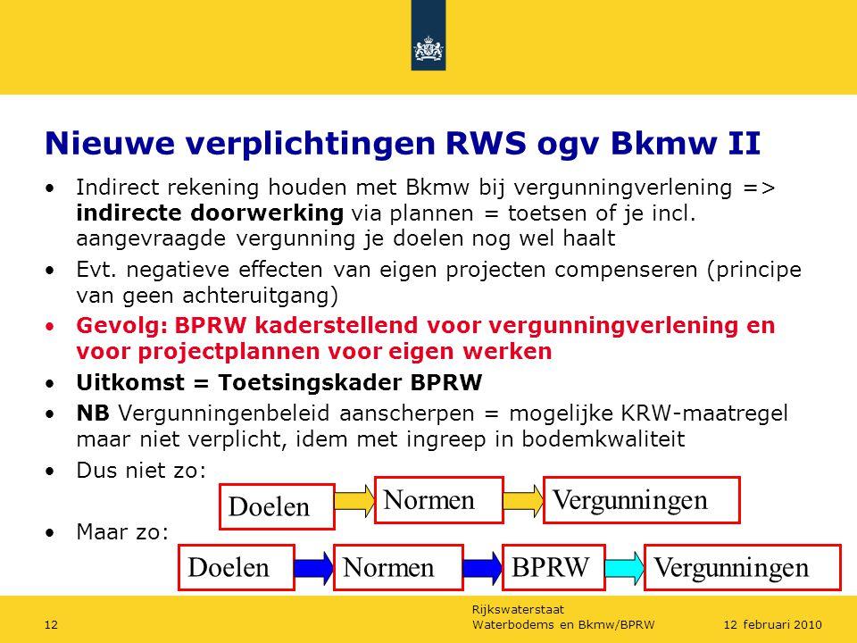 Nieuwe verplichtingen RWS ogv Bkmw II