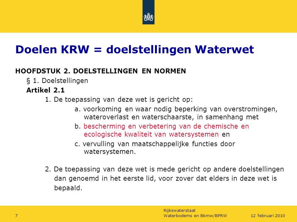 Doelen KRW = doelstellingen Waterwet