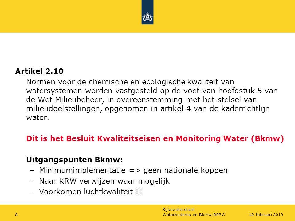 Dit is het Besluit Kwaliteitseisen en Monitoring Water (Bkmw)
