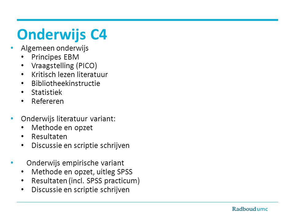 Onderwijs C4 Algemeen onderwijs Principes EBM Vraagstelling (PICO)