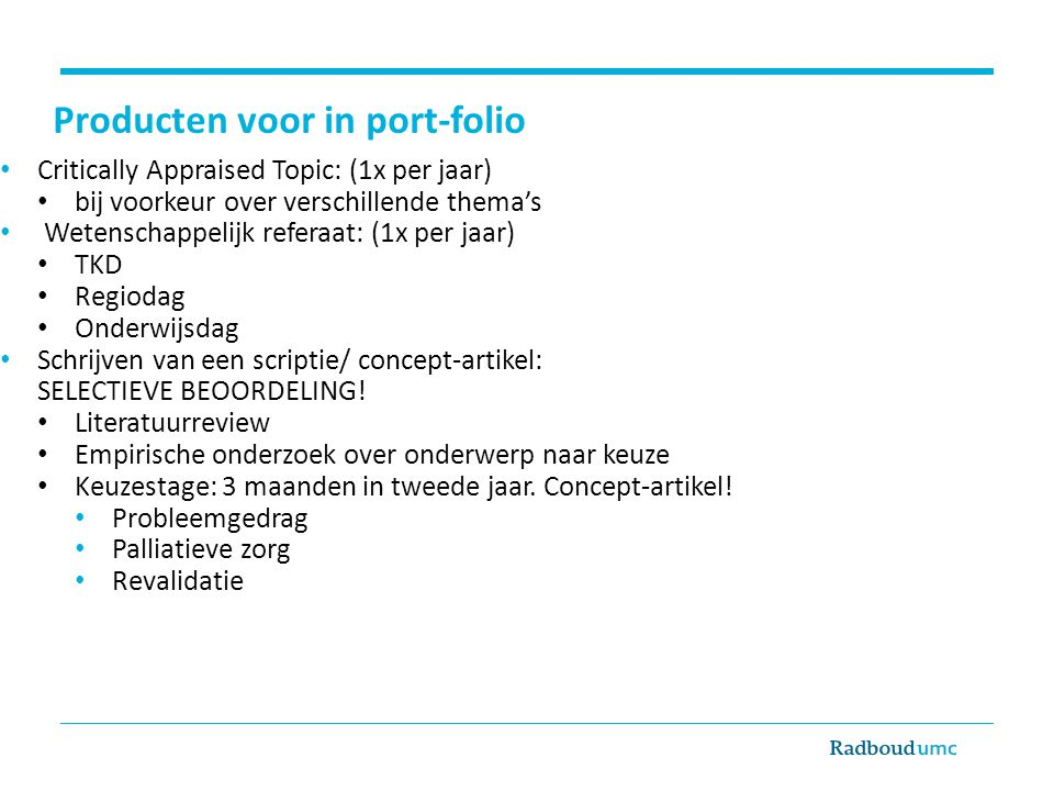 Producten voor in port-folio