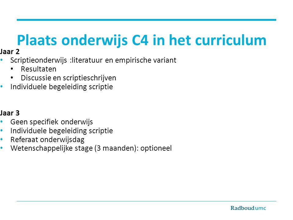 Plaats onderwijs C4 in het curriculum