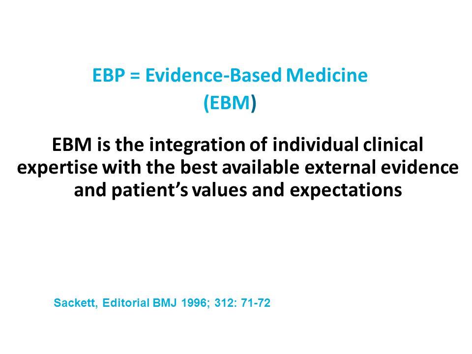 EBP = Evidence-Based Medicine (EBM)