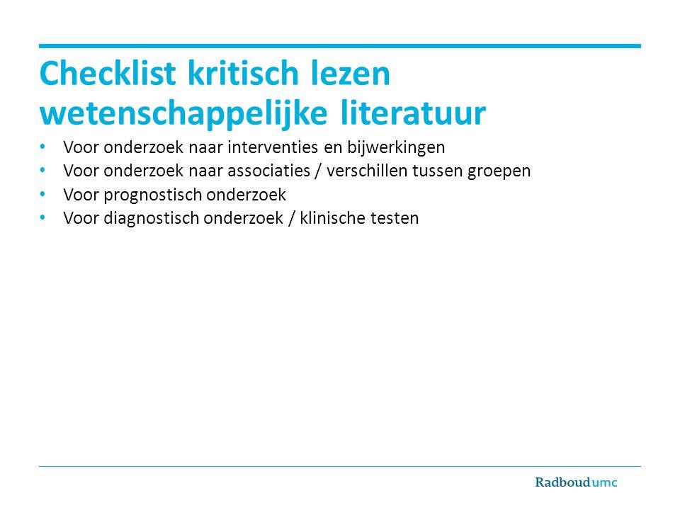 Checklist kritisch lezen wetenschappelijke literatuur