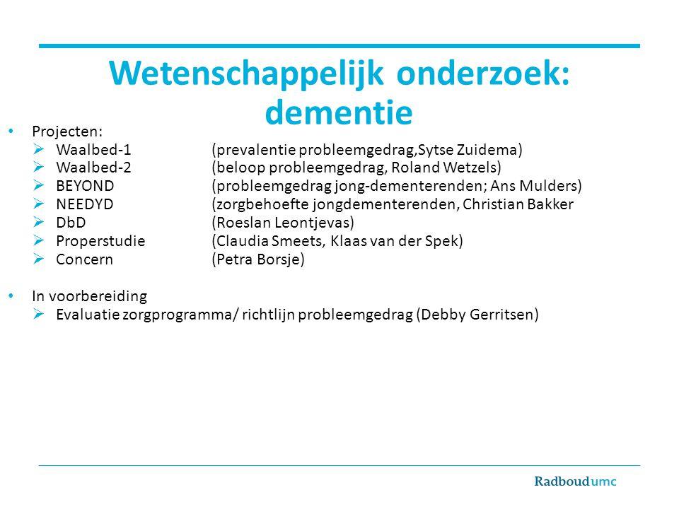 Wetenschappelijk onderzoek: dementie