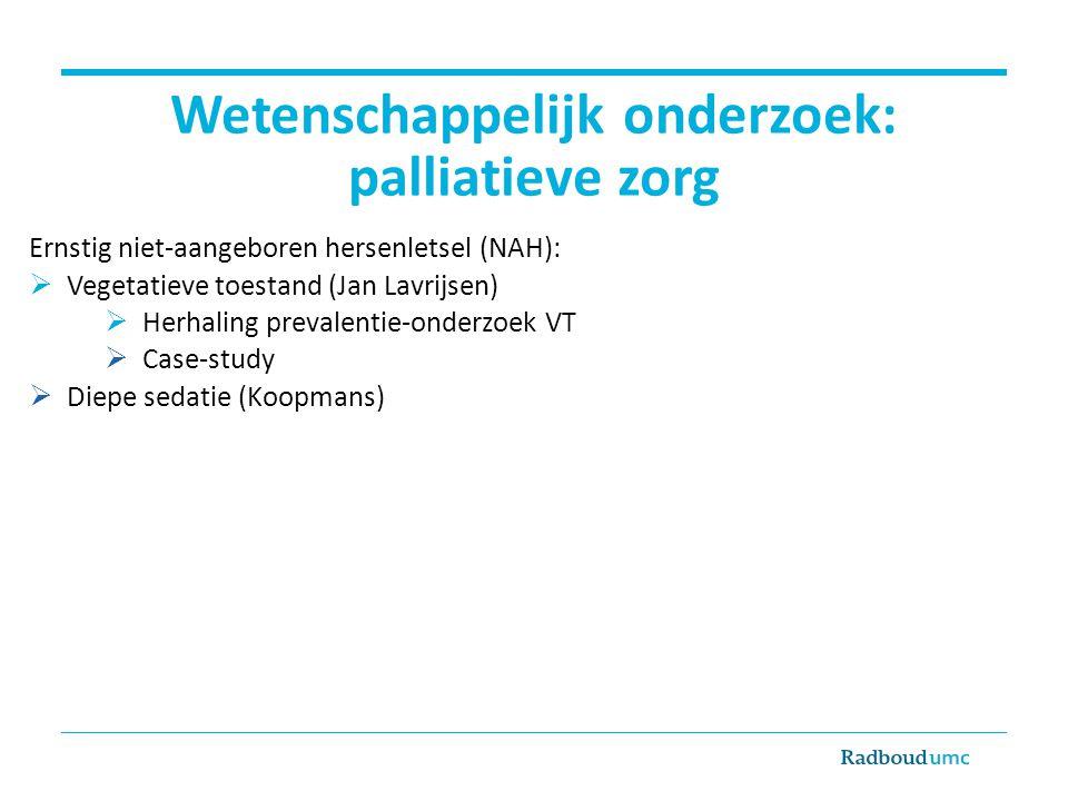Wetenschappelijk onderzoek: palliatieve zorg