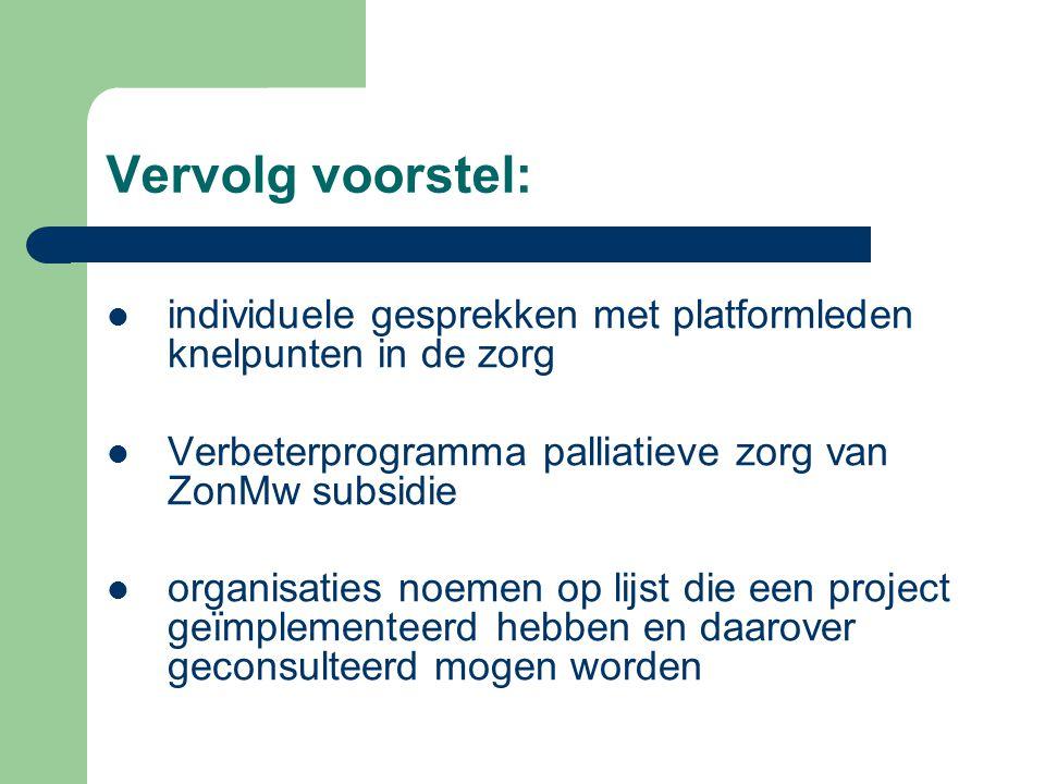 Vervolg voorstel: individuele gesprekken met platformleden knelpunten in de zorg. Verbeterprogramma palliatieve zorg van ZonMw subsidie.