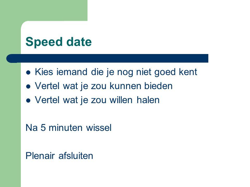 Speed date Kies iemand die je nog niet goed kent