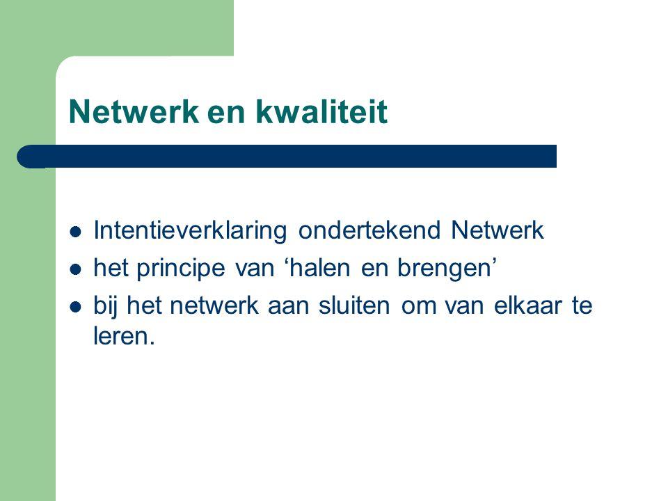 Netwerk en kwaliteit Intentieverklaring ondertekend Netwerk