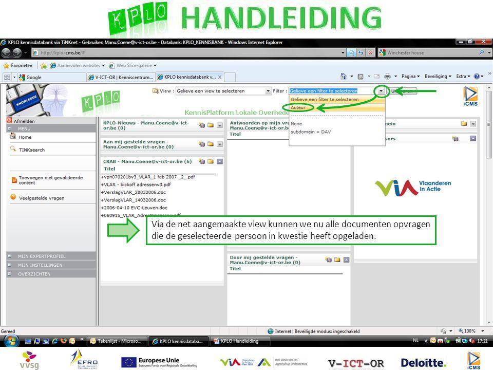 Via de net aangemaakte view kunnen we nu alle documenten opvragen die de geselecteerde persoon in kwestie heeft opgeladen.