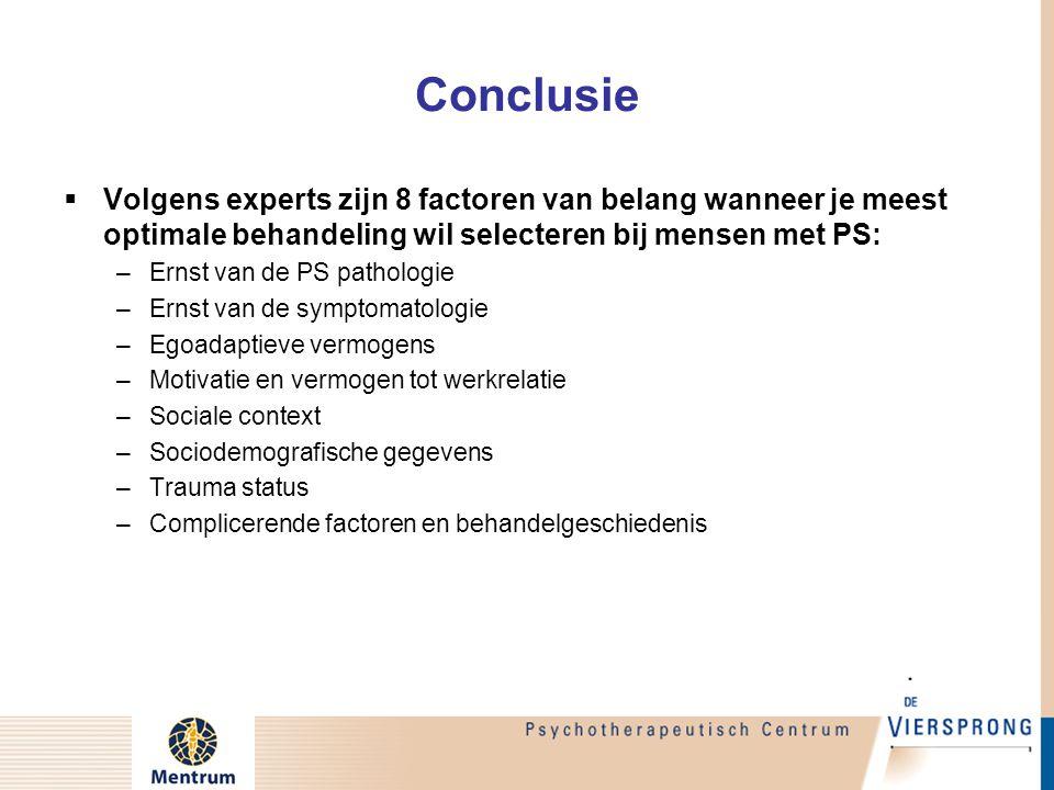 Conclusie Volgens experts zijn 8 factoren van belang wanneer je meest optimale behandeling wil selecteren bij mensen met PS:
