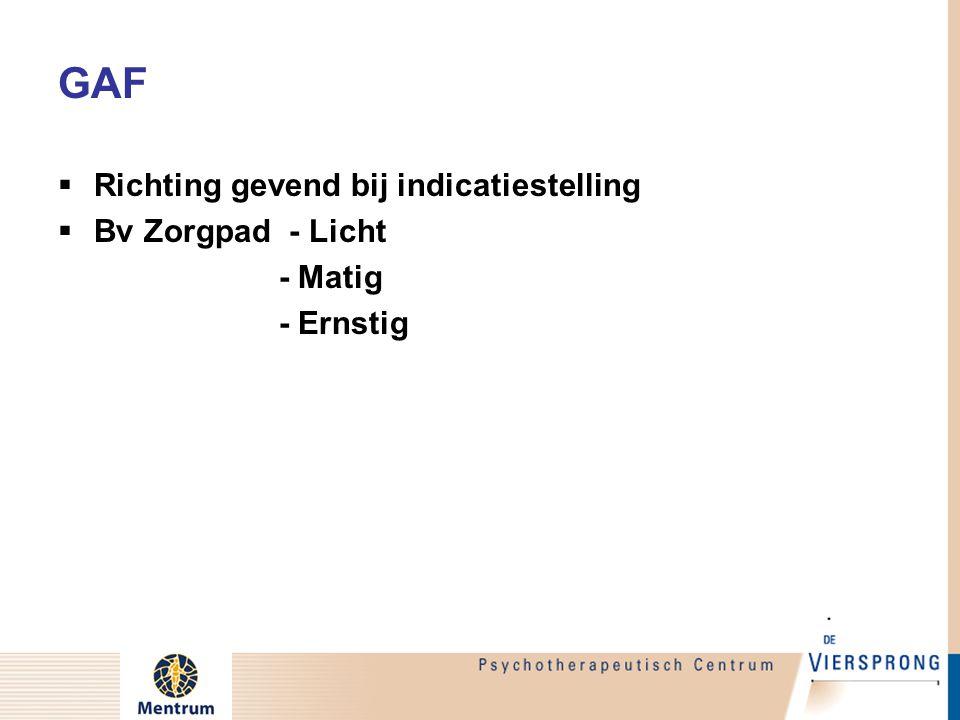 GAF Richting gevend bij indicatiestelling Bv Zorgpad - Licht - Matig