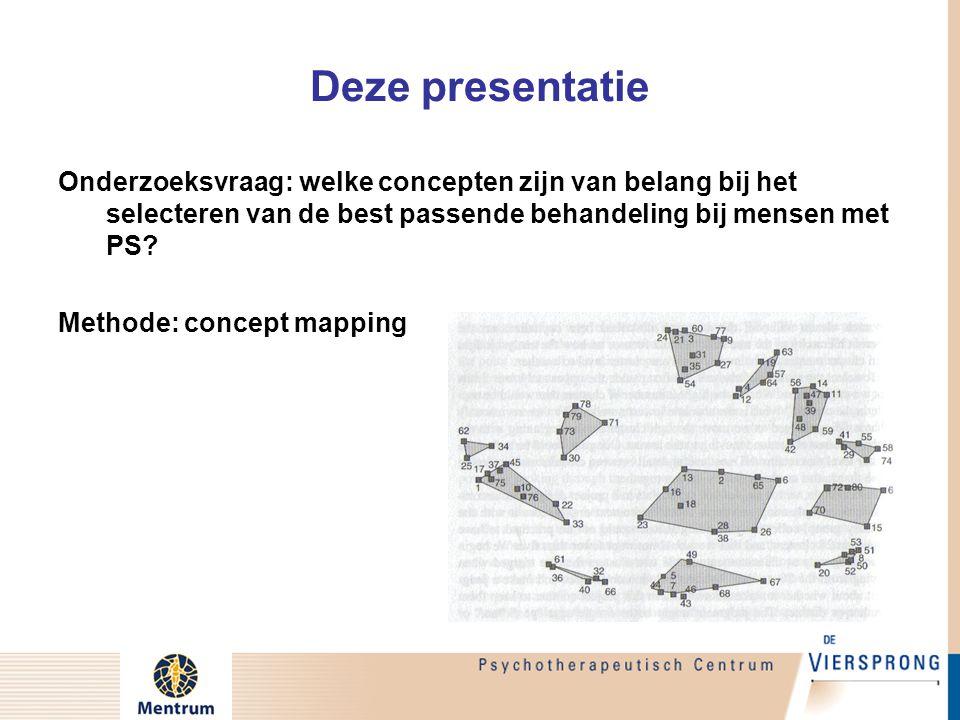 Deze presentatie Onderzoeksvraag: welke concepten zijn van belang bij het selecteren van de best passende behandeling bij mensen met PS