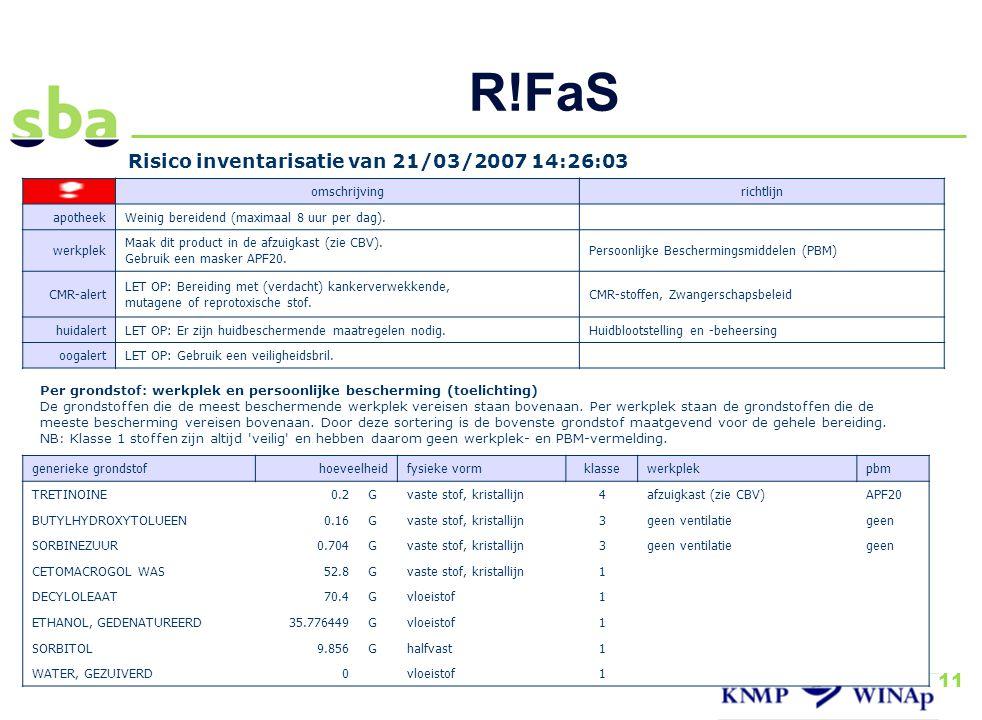 R!FaS Risico inventarisatie van 21/03/2007 14:26:03