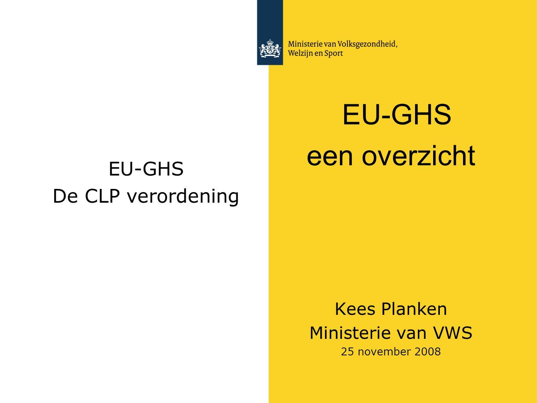 een overzicht EU-GHS EU-GHS De CLP verordening Kees Planken