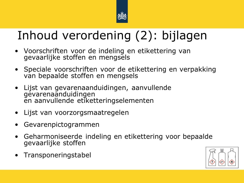 Inhoud verordening (2): bijlagen