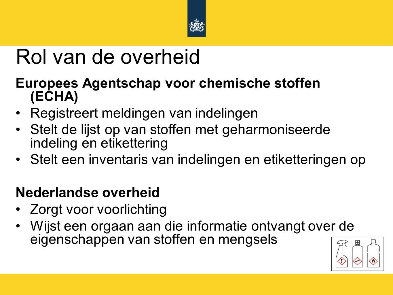 Rol van de overheid Europees Agentschap voor chemische stoffen (ECHA)