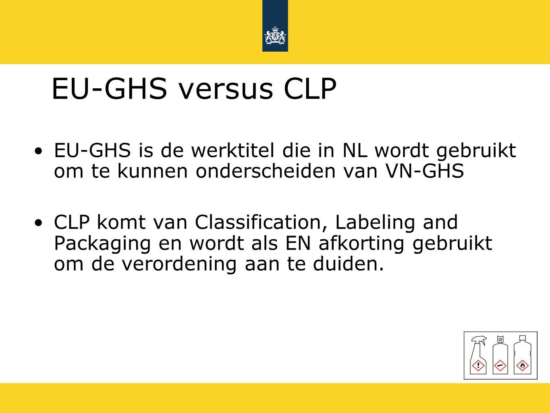 EU-GHS versus CLP EU-GHS is de werktitel die in NL wordt gebruikt om te kunnen onderscheiden van VN-GHS.