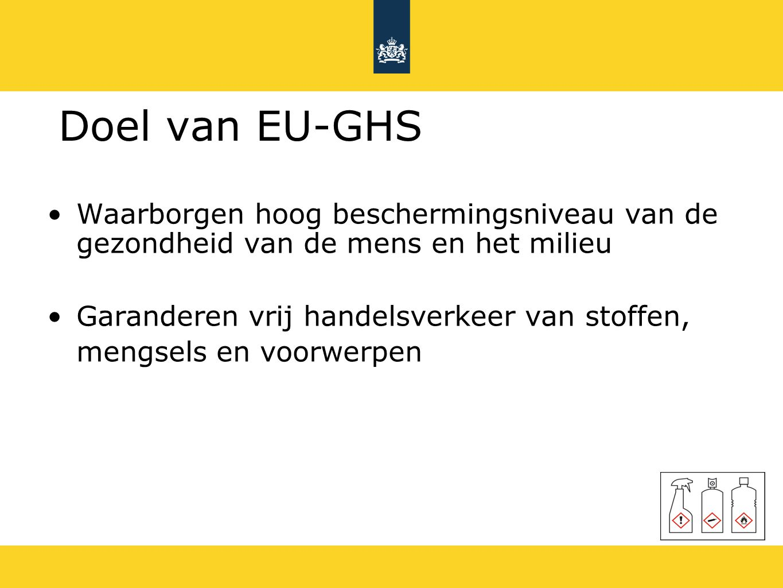 Doel van EU-GHS Waarborgen hoog beschermingsniveau van de gezondheid van de mens en het milieu.