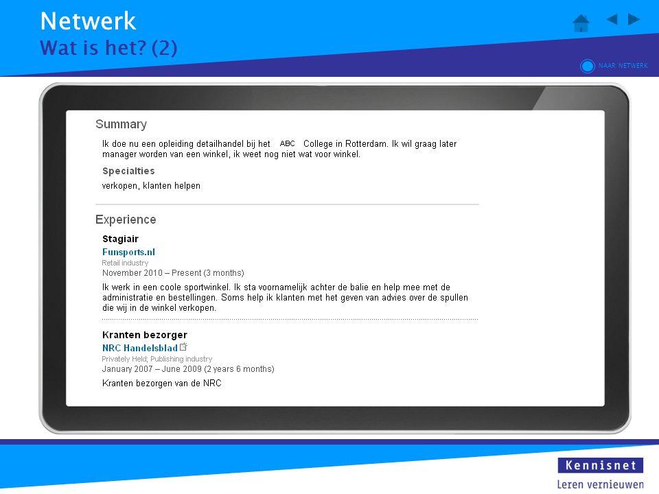 Netwerk Wat is het (2) NAAR NETWERK