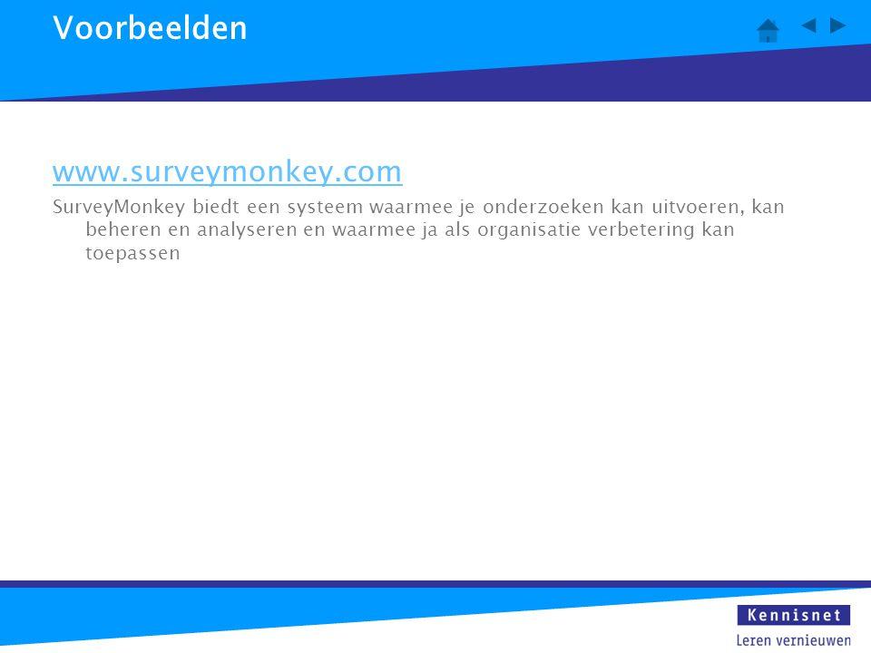 Voorbeelden www.surveymonkey.com