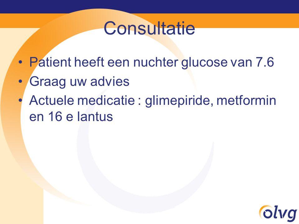 Consultatie Patient heeft een nuchter glucose van 7.6 Graag uw advies