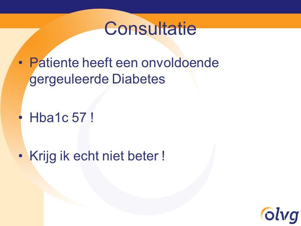 Consultatie Patiente heeft een onvoldoende gergeuleerde Diabetes