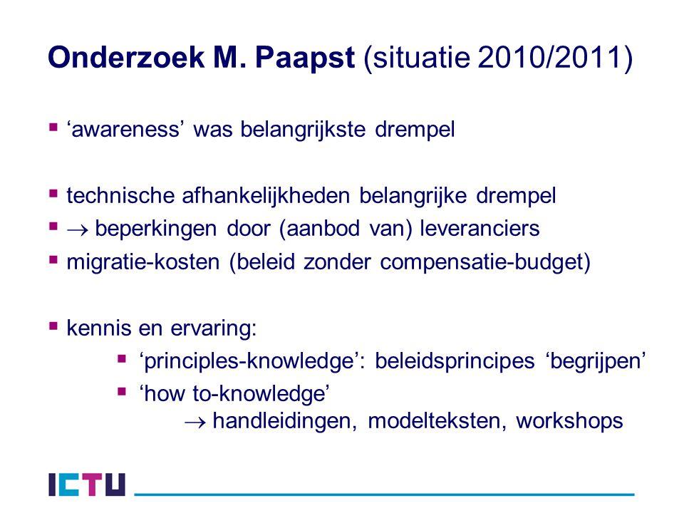 Onderzoek M. Paapst (situatie 2010/2011)