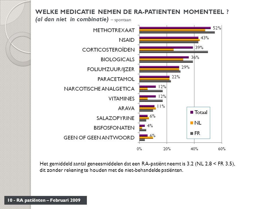 WELKE MEDICATIE NEMEN DE RA-PATIENTEN MOMENTEEL