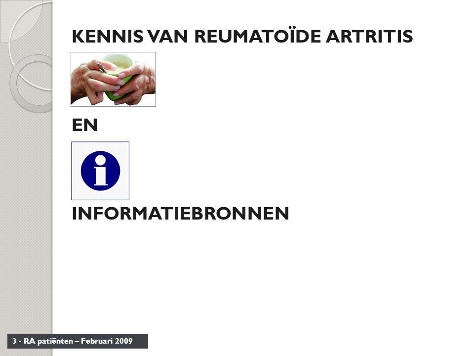 KENNIS VAN REUMATOÏDE ARTRITIS