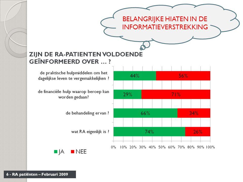 BELANGRIJKE HIATEN IN DE INFORMATIEVERSTREKKING