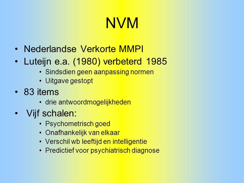 NVM Nederlandse Verkorte MMPI Luteijn e.a. (1980) verbeterd 1985