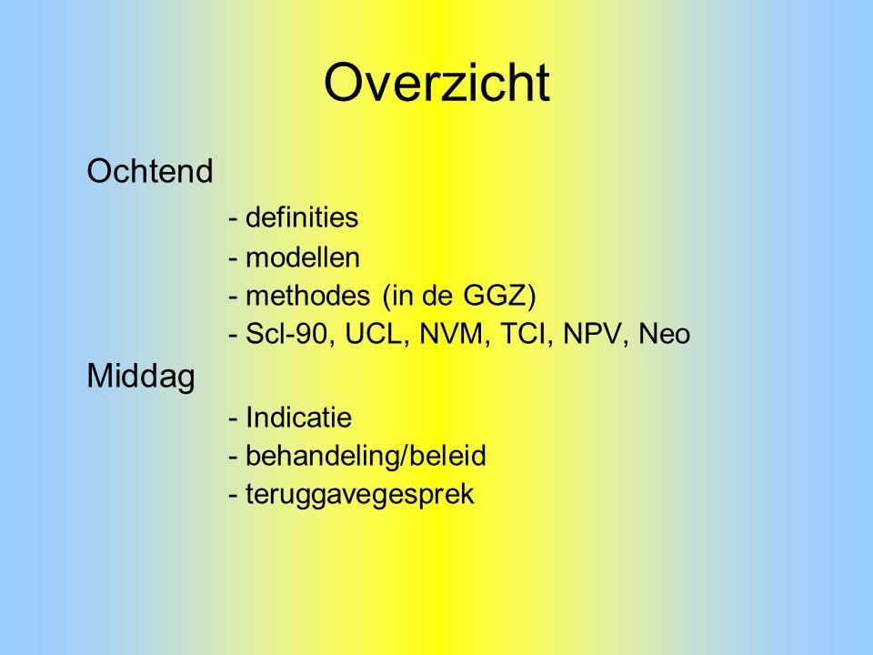Overzicht Ochtend - definities - modellen - methodes (in de GGZ)