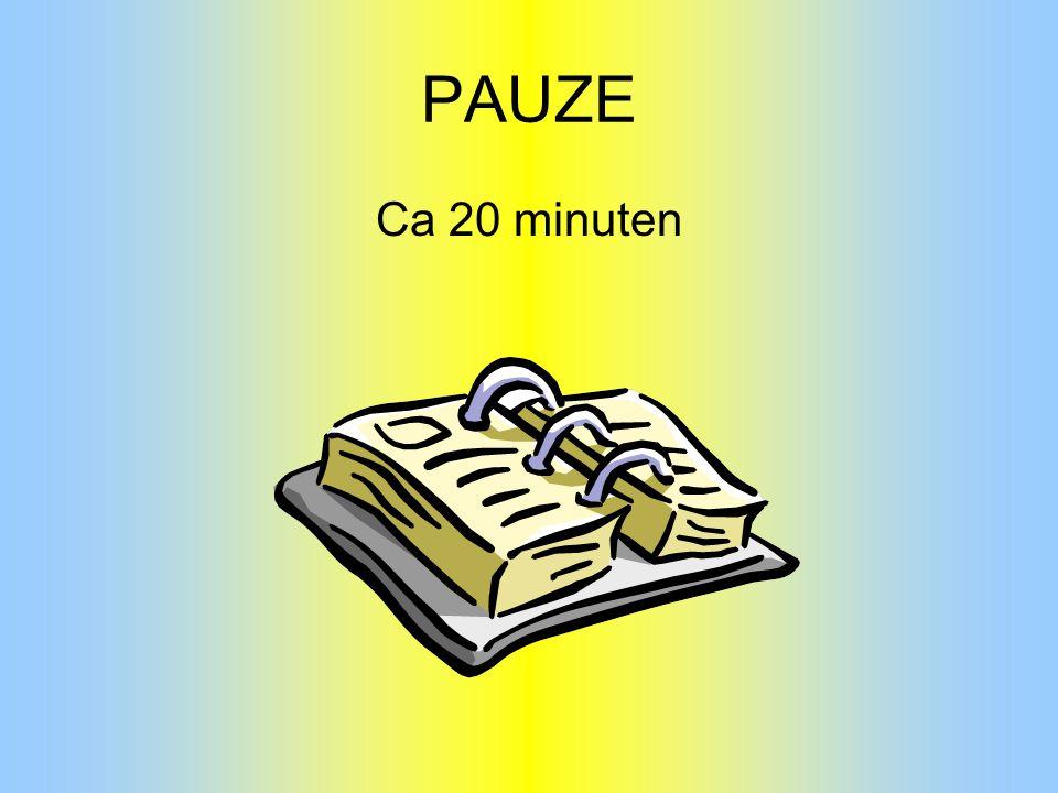 PAUZE Ca 20 minuten