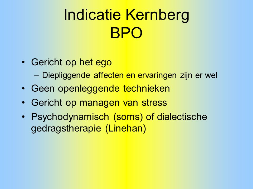Indicatie Kernberg BPO